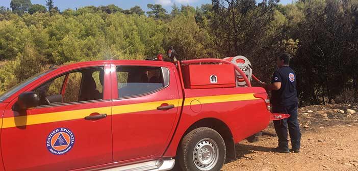 Στην κατάσβεση της πυρκαγιάς στη Νέα Μάκρη η Πολιτική Προστασία Δήμου Αμαρουσίου