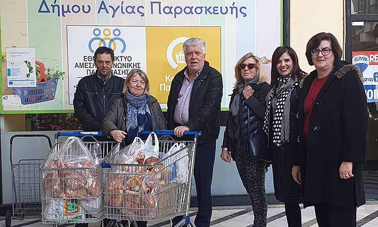 Προσφορά τροφίμων στο Κοινωνικό Παντοπωλείο Αγίας Παρασκευής από τον Σύλλογο «Χελιδόνι»