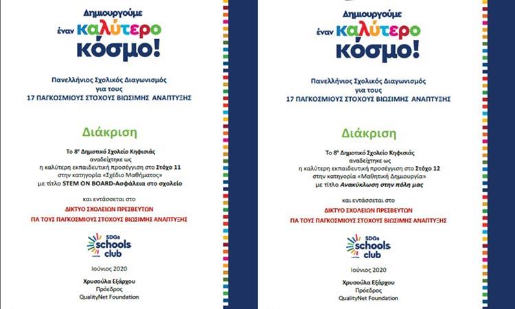 Δύο διακρίσεις στον Πανελλήνιο Μαθητικό Διαγωνισμό Bravo Schools 2020 για το 8ο Δημοτικό Σχολείο Κηφισιάς