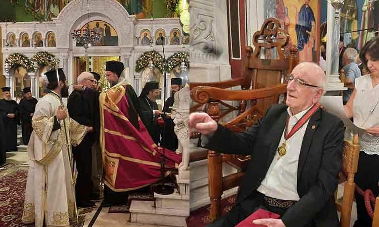 Το παράσημο του Πολιούχου και Ιερομάρτυρος Αγίου Γεωργίου του Νεαπολίτου στον Χάρη Σαπουντζάκη