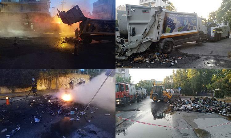 Απορριμματοφόρο του Δήμου Χαλανδρίου πήρε φωτιά κατά τη διάρκεια αποκομιδής