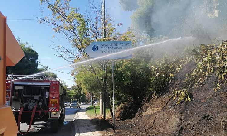 Φωτιά σε οικόπεδο στη Λ. Ελευθερίου Βενιζέλου στην Πεντέλη