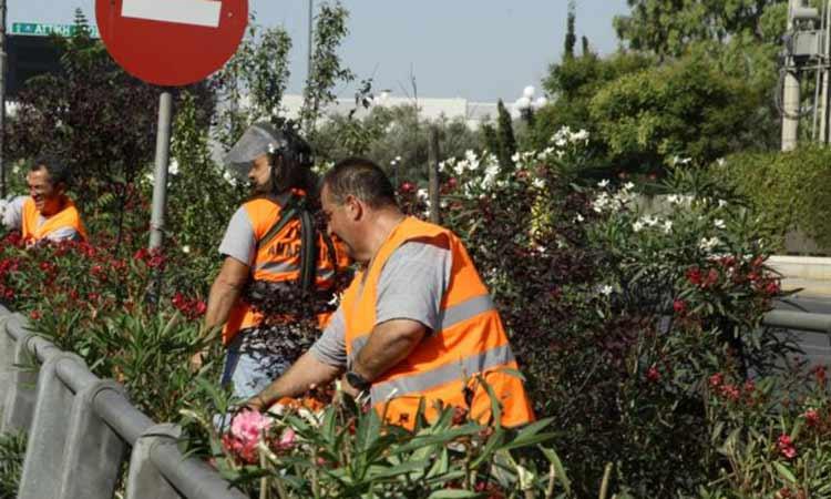 Εργασίες καθαρισμού και αποψίλωσης στο διάζωμα της Λ. Ολυμπιονίκη Σπ. Λούη, στο Μαρούσι
