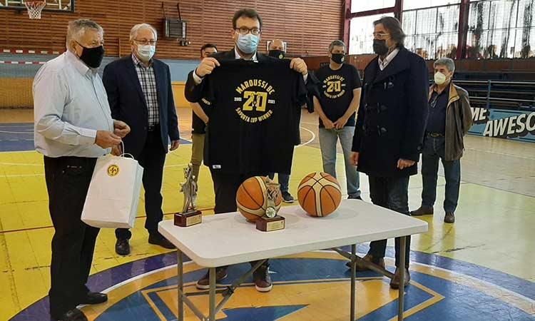 Βράβευση του Κ. Κουτσούκου και των φιλάθλων για την προσφορά του ΓΣΑ Αμαρουσίου στον αθλητισμό της πόλης