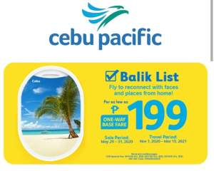 Cebu Pacific P199 sale is available now