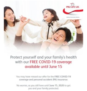 Pru Life UK offers FREE COVID-19 coverage until June 15, 2020