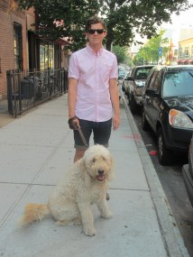 Man and dog in Greenpoint Brooklyn