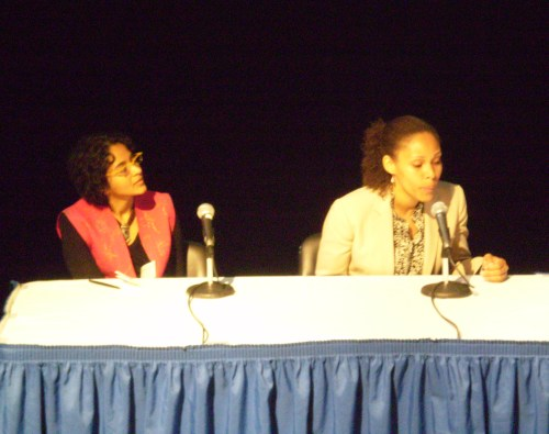 Abha Dawesar (Babyji et al) and Madeline Nelson-Small (FFAWN) as panelists