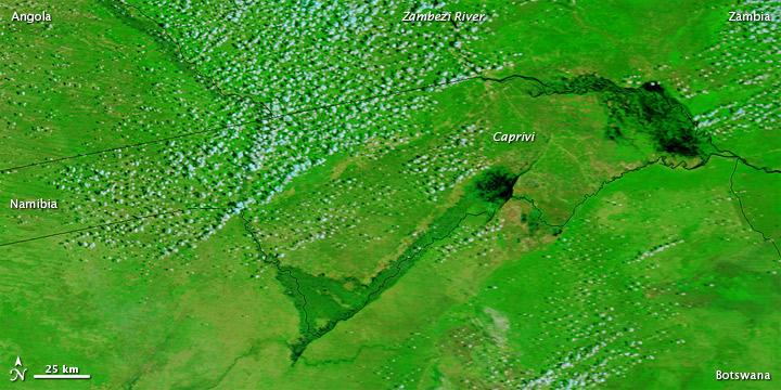 Zambezi river flooding, Zambia and Namibia, February 2011