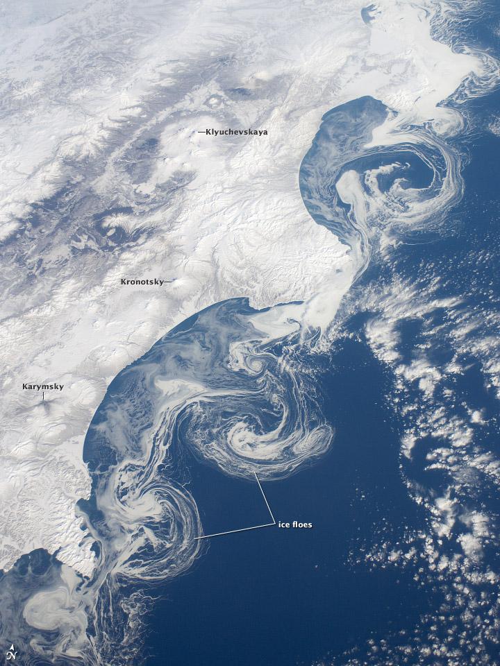 Ice Floes Along the Kamchatka Coastline