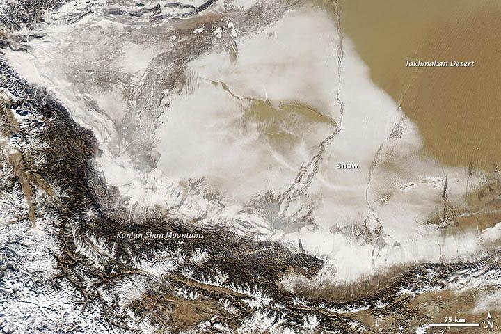 Storm Turns the Taklimakan Desert White