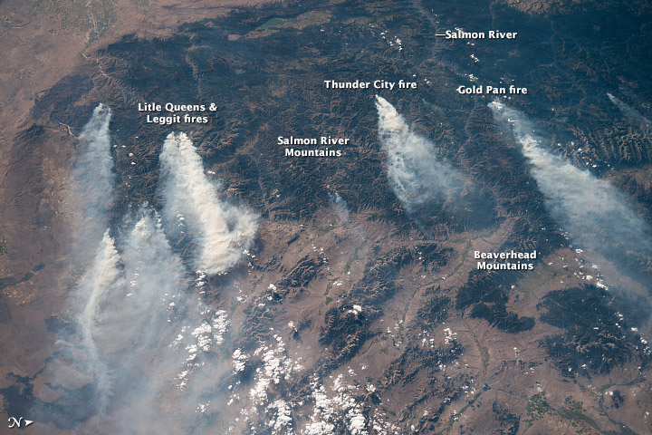 Image from the International Space Station of Idaho fires, with names of larger fires overlayed.  August 23, 2013