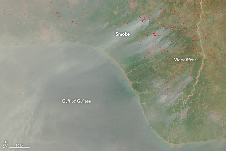 Smoke from fires in Africa. Depending on what is burning, different amounts of black carbon is produced. Image credit: Jeff Schmaltz, LANCE/EOSDIS Rapid Response/NASA Earth Observatory.
