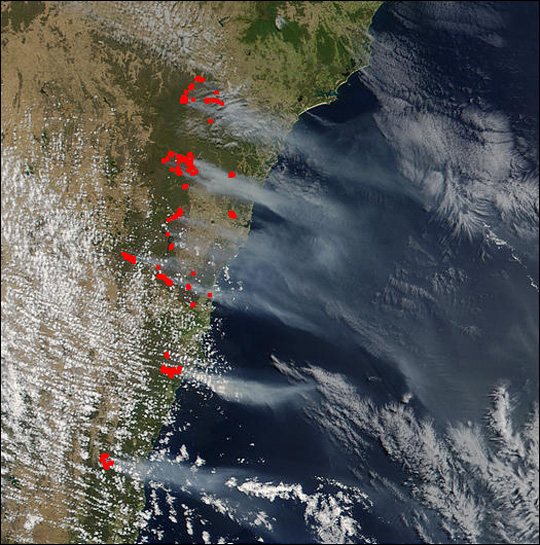 NASA Visible Earth: Severe Bush Fires Near Sydney, Australia