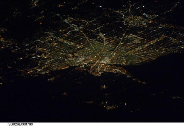 Detroit at night photographed from the International Space ...