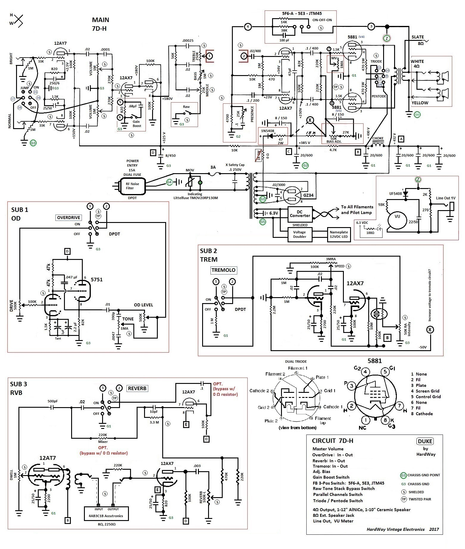 """7D-H """"Duke"""" Schematic, with Sub-Circuits"""
