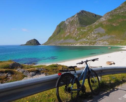 arrivo in bici alla spiaggia di Hauckland