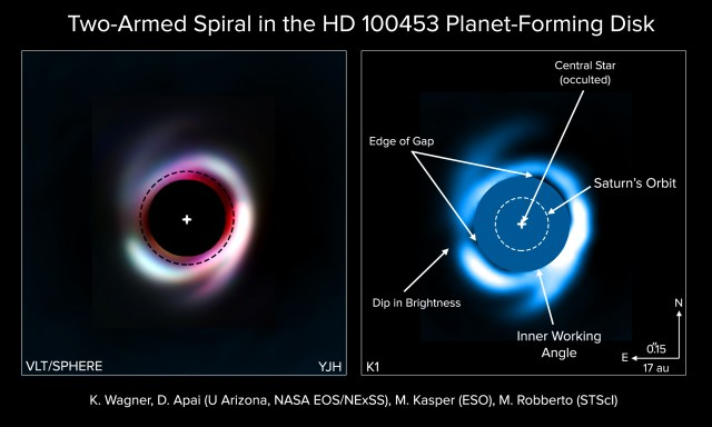 Two spirals arms discovered in a young planet-forming disk by EOS scientists Daniel Apai and Kevin Wagner.