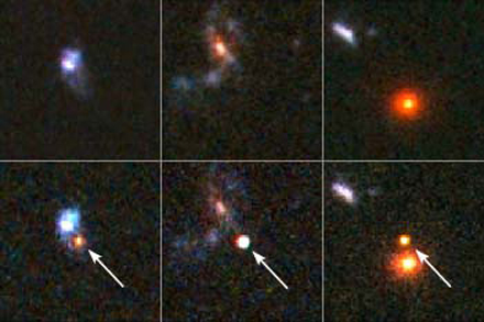 Hubble's view before and after some of the most distant type 1a supernovas known. Arrows in the bottom panel show the supernovas. The brightness and distance to these explosions, in which a compact star known as a white dwarf is blown to bits, helped confirm the existence of dark energy, a mysterious entity that is causing the universe to expand at an ever-faster rate. Credit: NASA/ESA; A. Riess, STSCI