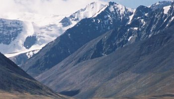 """The Pamir Mountains, known as """"the Roof of the World,"""" which tower as high as 7495 meters."""