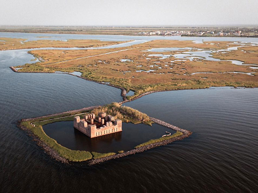 Ruins of Fort Beauregard are partially submerged in lake Borgne.