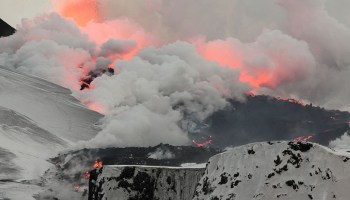 Scientists track lava with steam clouds.