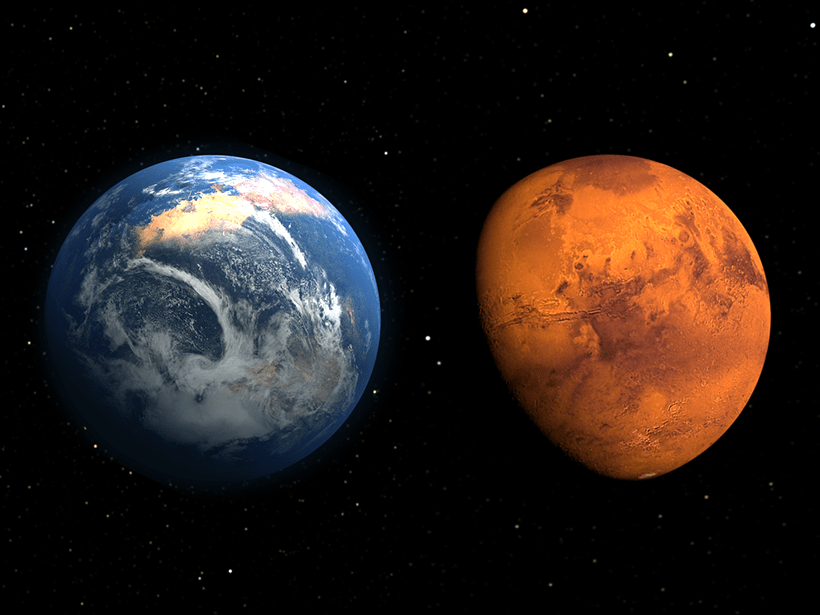 Artist's conception of a lush, early Mars (left) compared to arid, present-day Mars.