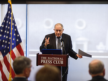 Neal Lane presenting a set of science transition recommendations for the next president at a Washington, D. C. briefing.