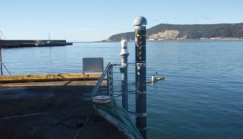 An acoustic tide gauge monitors the harbor at Burnie on the northern coast of Tasmania, Australia.