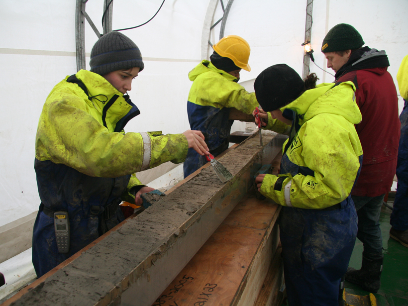 Antarctic research team scrapes sediment cores from 1200 meters below the seafloor near the Cosgrove Ice Shelf.
