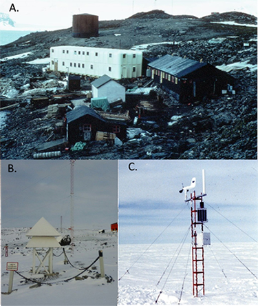 Three stations in Antarctica where extreme high temperatures set records.