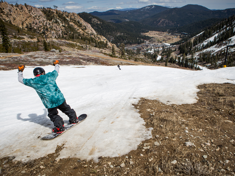 Snow drought, seen here on slopes that should have snow.