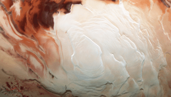 A view of Mars's south polar ice cap, taken by Mars Express.