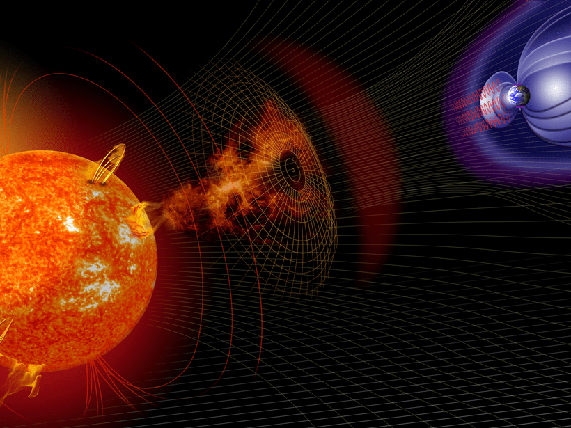 Artist's illustration of events on the Sun changing the conditions in near-Earth space.