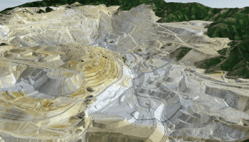 3-D view of Bingham Canyon Mine, Utah, an example of a human-made topographic fingerprint on the landscape.