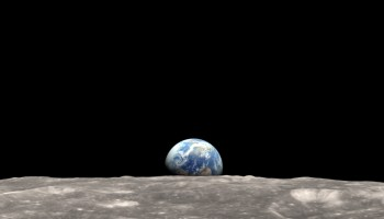"""Re-creation of one of the """"Earthrise"""" images taken 24 December 1968 by Apollo 8 astronauts."""
