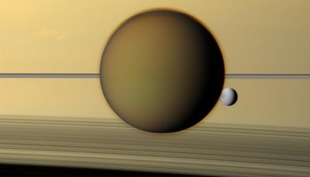 Titan and Dione with Saturn.