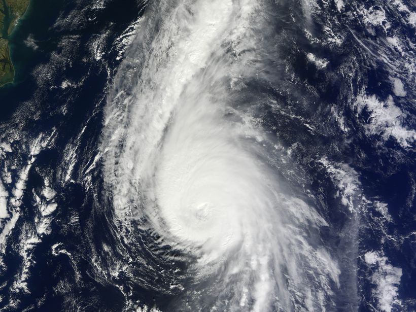 Natural-color image of category 3 Hurricane Gonzalo on October 17, 2014.