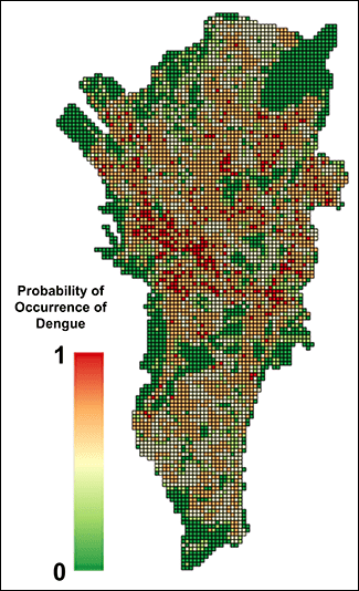 Predictive dengue fever risk map for the city of Manila. The areas at greatest risk are shown in red.