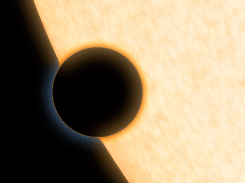 An artist's rendering of a Neptune-sized exoplanet.