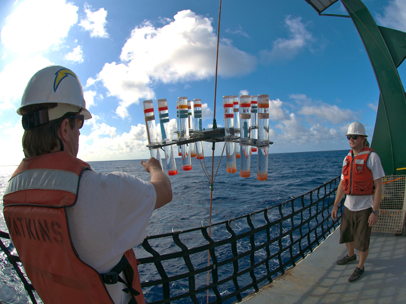 Hawaii Ocean Time-series program scientists recover particle interceptor traps