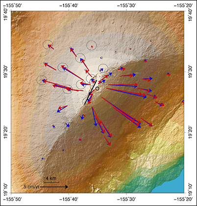 Average horizontal velocities of GNSS stations on Mauna Loa from mid-2014 through 2016.