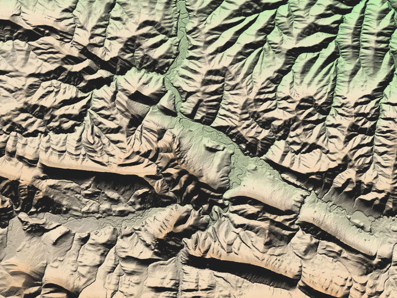 A color-shaded relief image made from the 5-meter mosaic of ArcticDEM shows a portion of the Brooks Range on the North Slope of Alaska