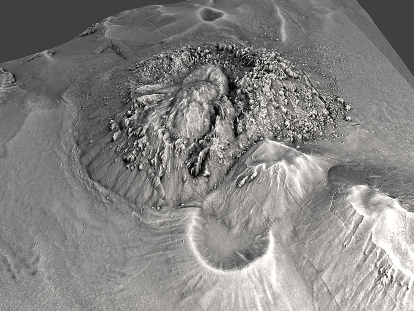 3-D seafloor bathymetry map, constructed using AUV data from this expedition (1-meter resolution), showing a silicic lava dome.