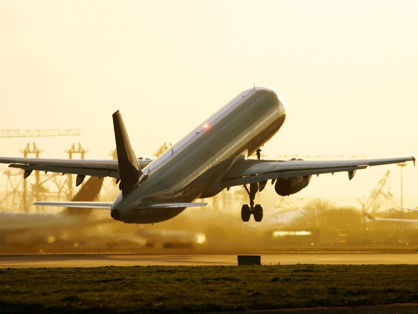 Airplane taking off.