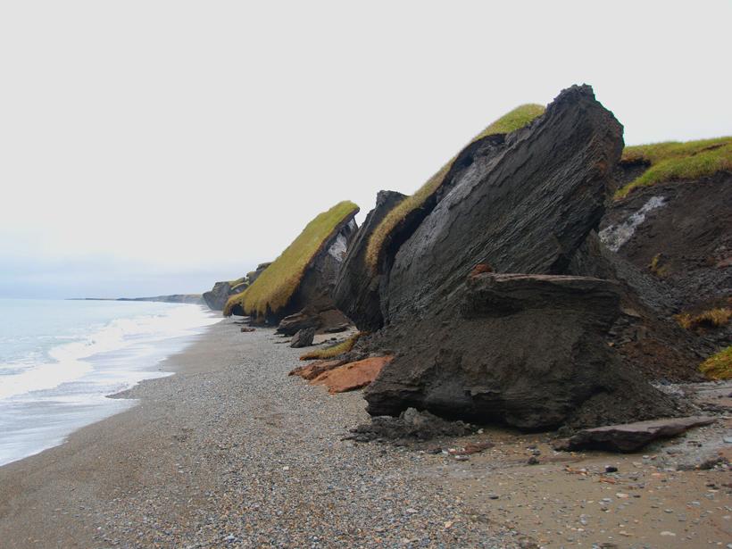 Erosion eats away at the permafrost of Canada's Yukon Coastal Plain
