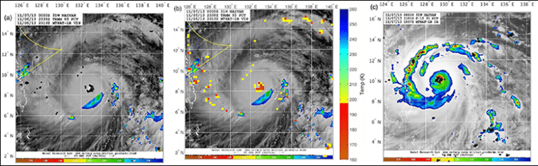 Reconstruction of satellite data using lightning for Typhoon Haiyan in 2013 at its peak intensity.