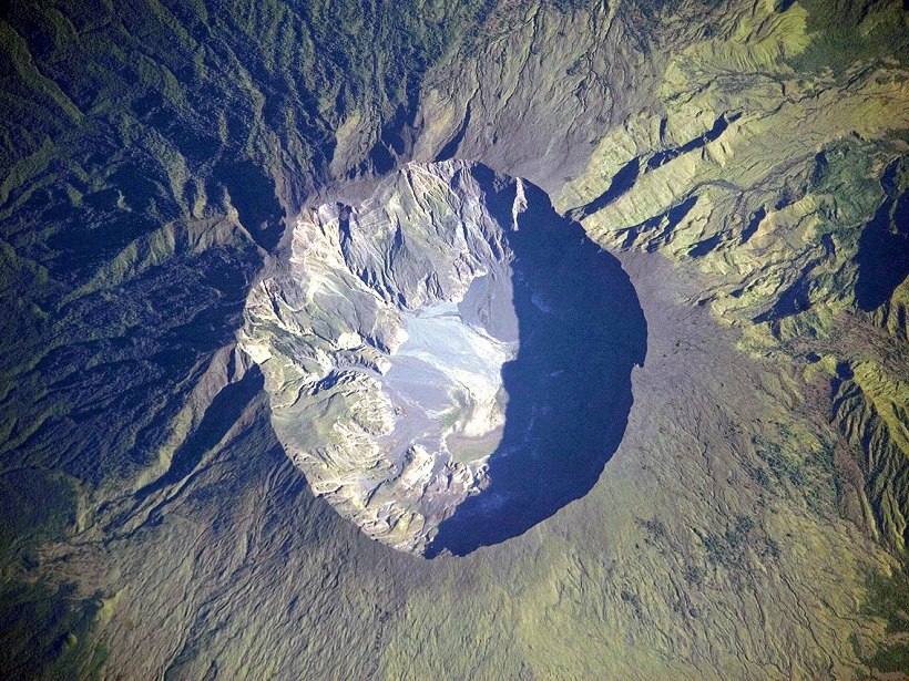 Volcanic caldera Mount Tambora Indonesia