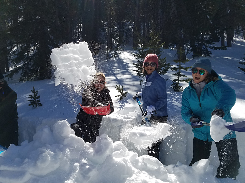 PROGRESS program early-career geoscientists and their mentors have fun and learn about snow science.