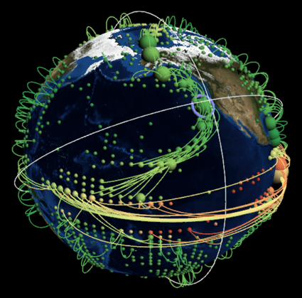 A visualization of a complex climate network based on global surface air temperature data.